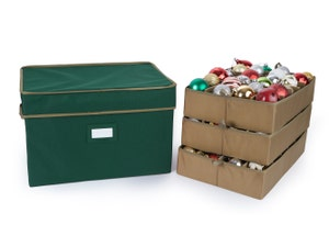 72PC Adjustable Ornament Storage Box - Holds 4 Inch Ornaments
