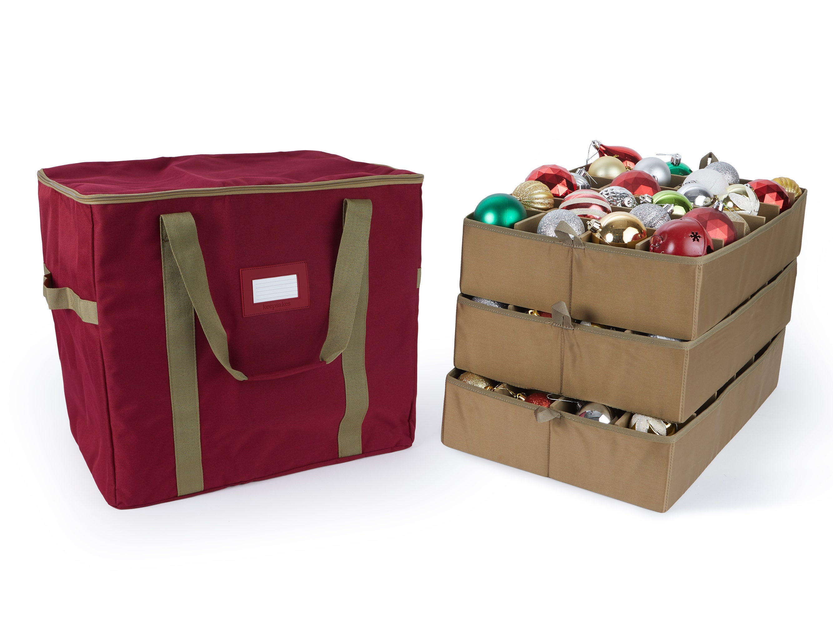 Red ornament storage bag with three trays holding 72 ornaments