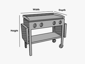 custom-size-flat-top-grill-cover-line-drawing