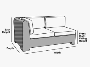 custom-size-left-arm-sectional-cover-line-drawing