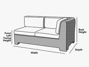 custom-size-right-arm-sectional-cover-line-drawing