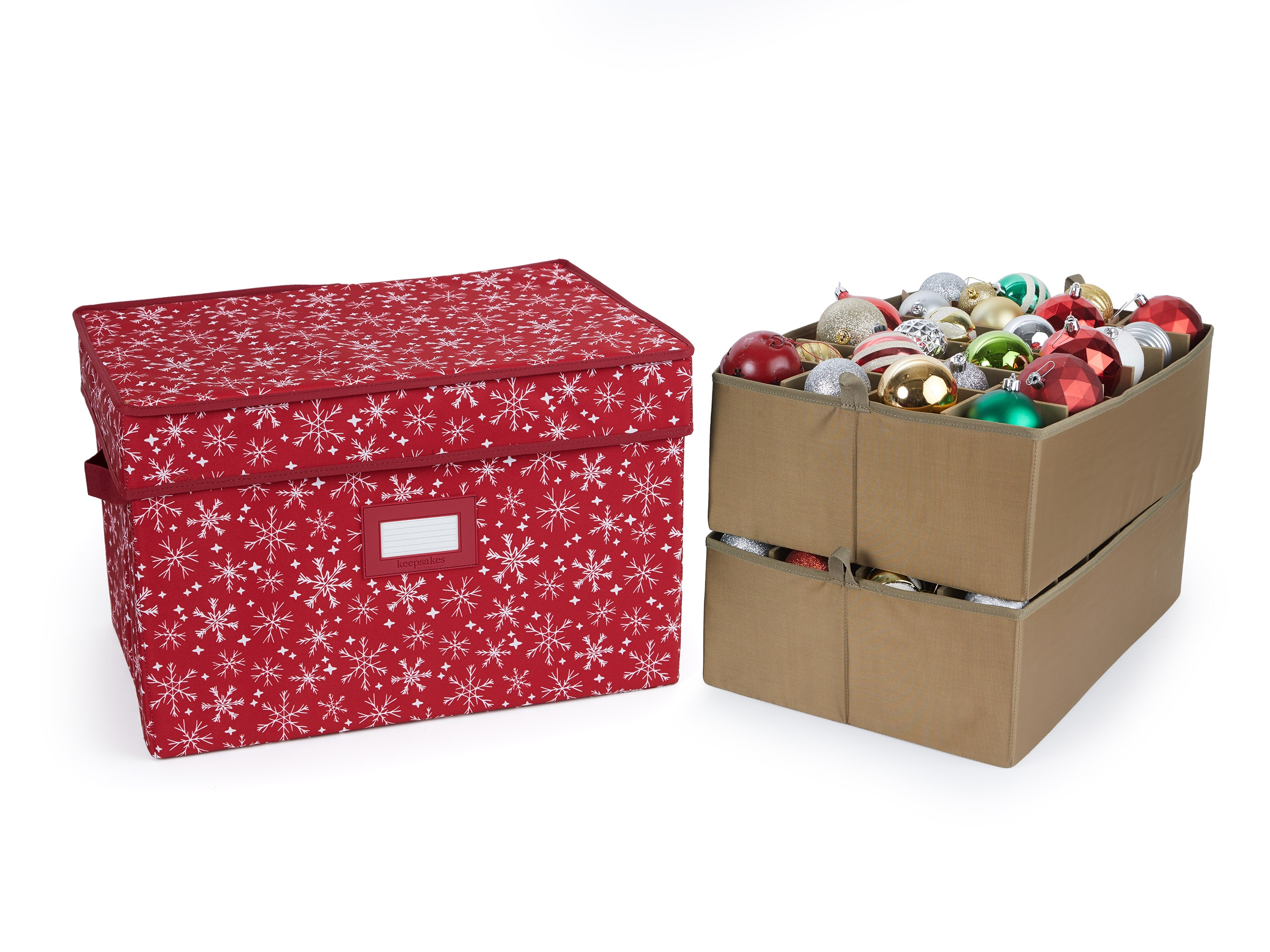 Red snowflake ornament storage box with two trays holding 48 ornaments
