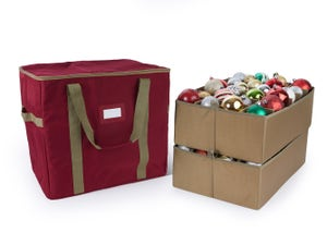 48PC Adjustable Ornament Storage Bag - Holds 6 Inch Ornaments