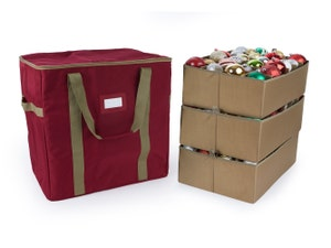 72PC Adjustable Ornament Storage Bag - Holds 6 Inch Ornaments