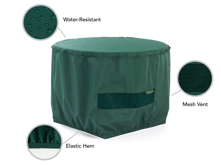 Classic fire pit cover features