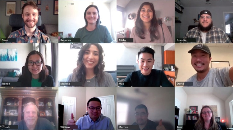 Coverstore team meeting virtually