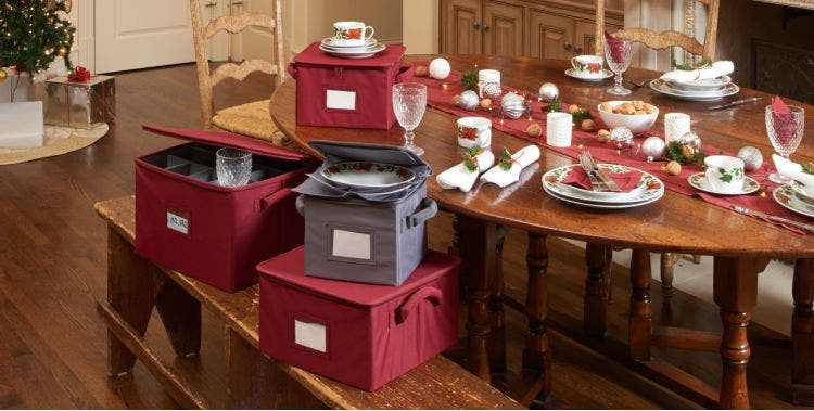 Dish storage boxes with holiday dinnerware