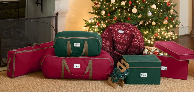 Christmas decorations stored in boxes and bags