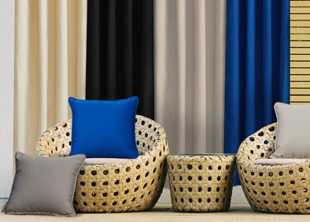 Outdoor curtains and pillows