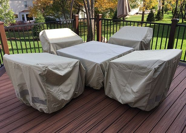 A customer's Coverstore Elite covers on their patio furniture.