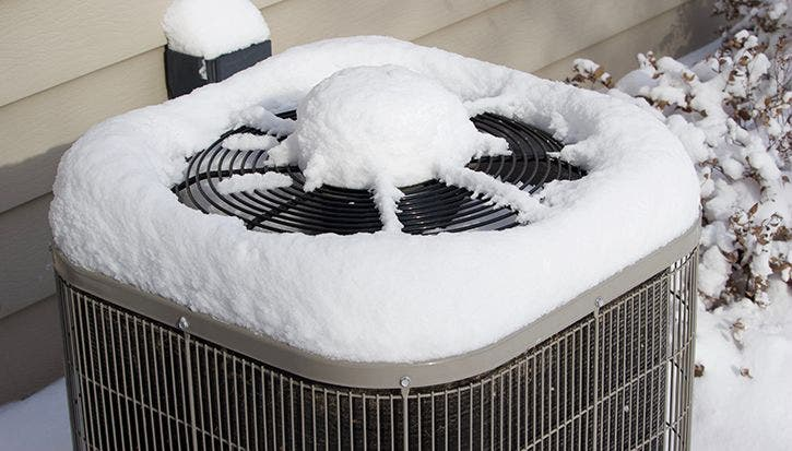 Outdoor Air Conditioner Covered With Snow