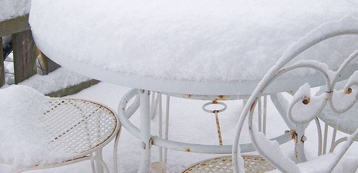 Wrought iron outdoor furniture is prone to rusting when left unprotected in winter.