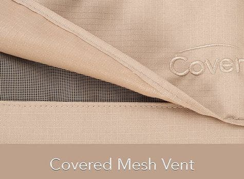 Covered mesh vent on an outdoor furniture cover